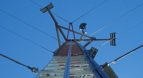 looking up a guyed tower
